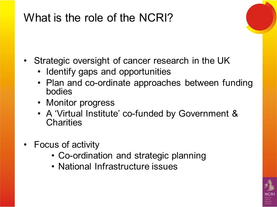 What is the role of the NCRI.
