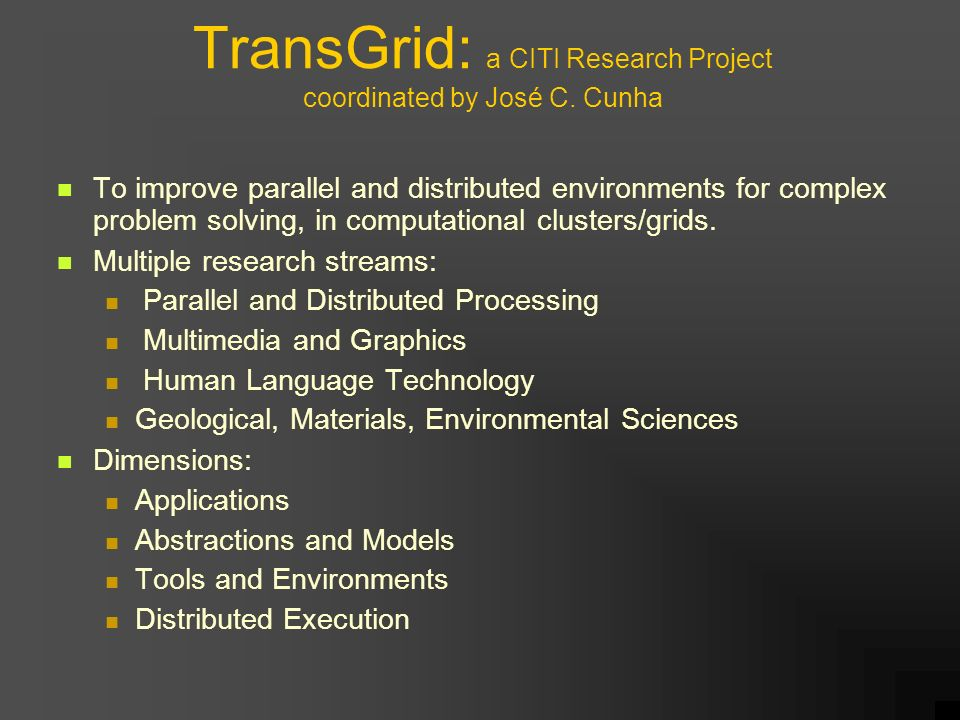 TransGrid: a CITI Research Project coordinated by José C.