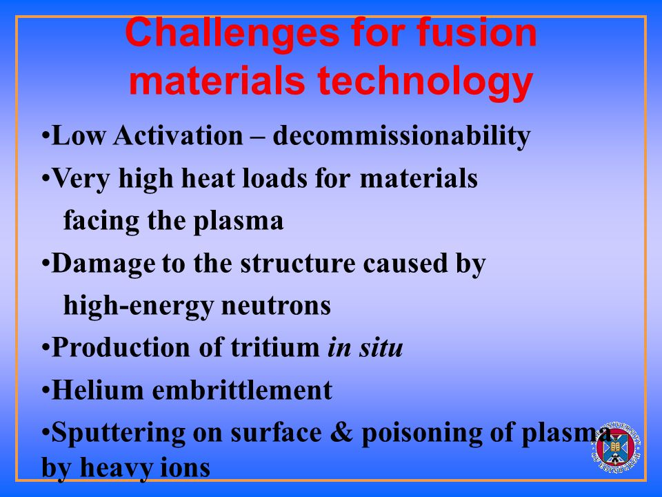 Materials Plasma facing material First wall Blanket Material Reaction pressure vessel Electronics… Magnets…