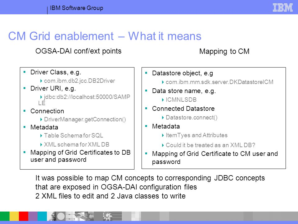 IBM Software Group CM Grid enablement – What it means Driver Class, e.g.