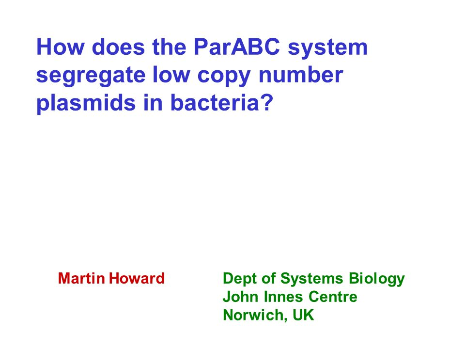 How does the ParABC system segregate low copy number plasmids in bacteria.