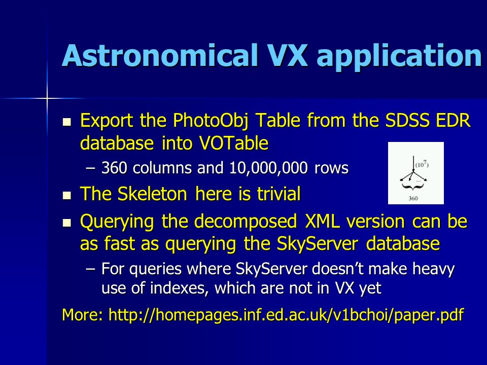 Astronomical VX application Export the PhotoObj Table from the SDSS EDR database into VOTable Export the PhotoObj Table from the SDSS EDR database into VOTable –360 columns and 10,000,000 rows The Skeleton here is trivial The Skeleton here is trivial Querying the decomposed XML version can be as fast as querying the SkyServer database Querying the decomposed XML version can be as fast as querying the SkyServer database –For queries where SkyServer doesnt make heavy use of indexes, which are not in VX yet More: http://homepages.inf.ed.ac.uk/v1bchoi/paper.pdf