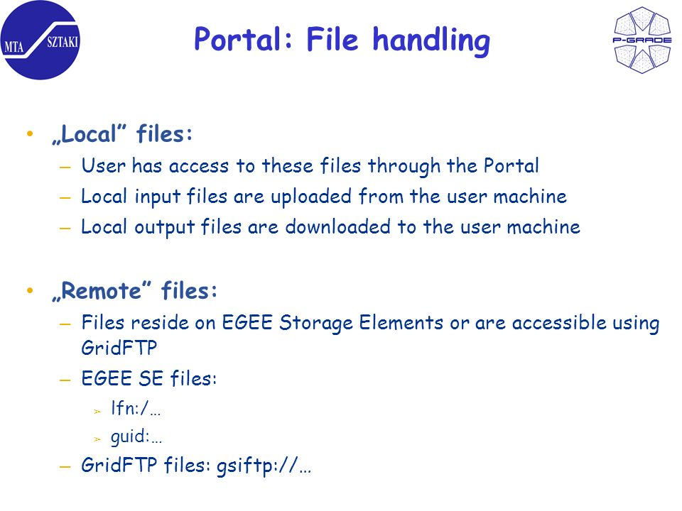 Portal: File handling Local files: – User has access to these files through the Portal – Local input files are uploaded from the user machine – Local output files are downloaded to the user machine Remote files: – Files reside on EGEE Storage Elements or are accessible using GridFTP – EGEE SE files: lfn:/… guid:… – GridFTP files: gsiftp://…