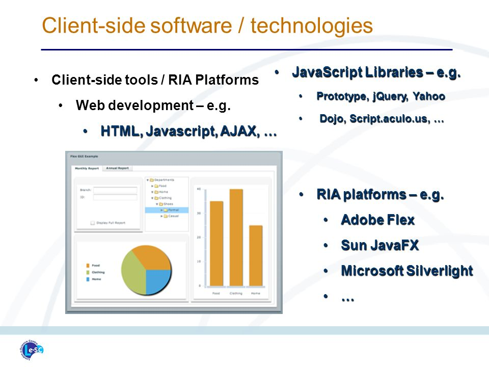 Client-side software / technologies Client-side tools / RIA PlatformsClient-side tools / RIA Platforms Web development – e.g.Web development – e.g.