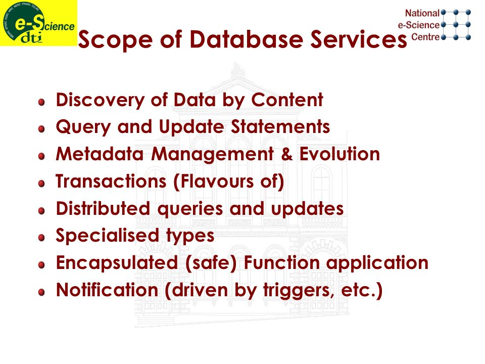 Scope of Database Services Discovery of Data by Content Query and Update Statements Metadata Management & Evolution Transactions (Flavours of) Distributed queries and updates Specialised types Encapsulated (safe) Function application Notification (driven by triggers, etc.)
