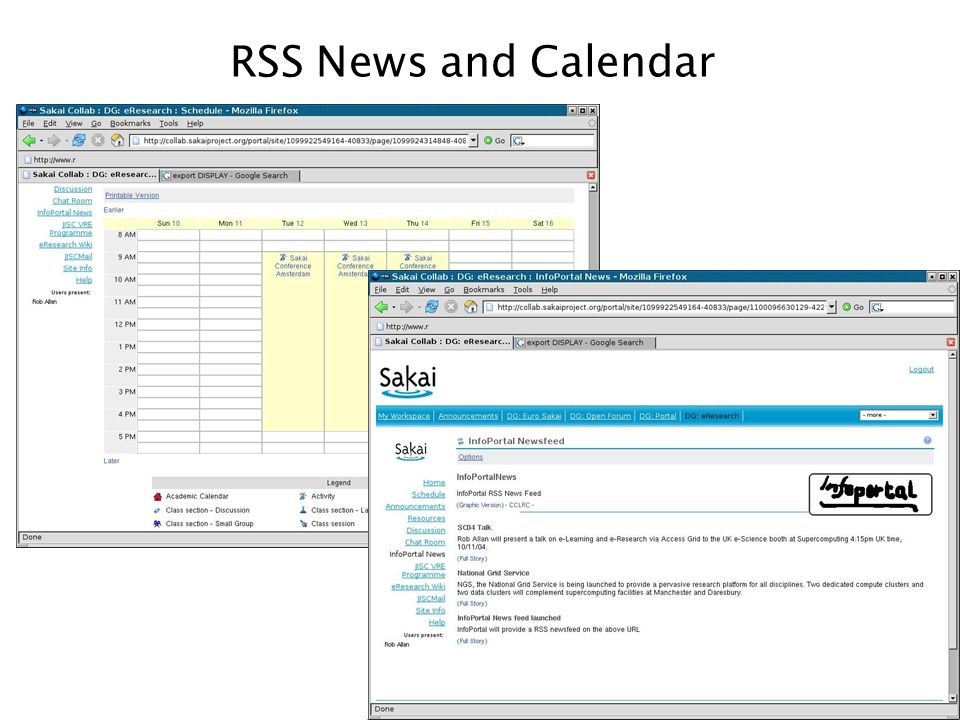 RSS News and Calendar