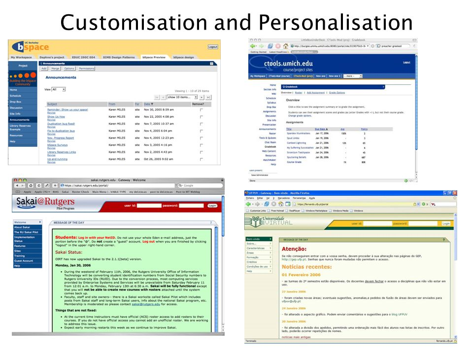 Customisation and Personalisation