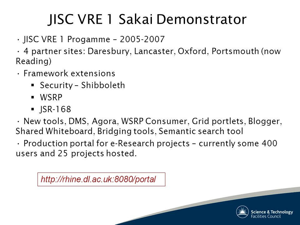 JISC VRE 1 Sakai Demonstrator JISC VRE 1 Progamme – 2005-2007 4 partner sites: Daresbury, Lancaster, Oxford, Portsmouth (now Reading) Framework extensions Security – Shibboleth WSRP JSR-168 New tools, DMS, Agora, WSRP Consumer, Grid portlets, Blogger, Shared Whiteboard, Bridging tools, Semantic search tool Production portal for e-Research projects – currently some 400 users and 25 projects hosted.