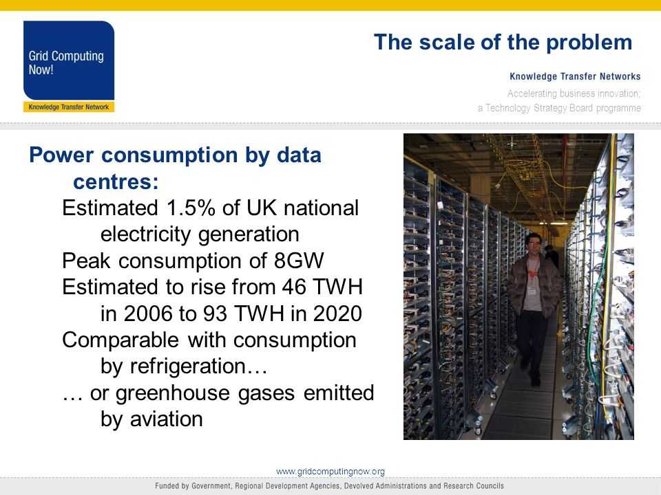Accelerating business innovation; a Technology Strategy Board programme www.gridcomputingnow.org The scale of the problem Power consumption by data centres: Estimated 1.5% of UK national electricity generation Peak consumption of 8GW Estimated to rise from 46 TWH in 2006 to 93 TWH in 2020 Comparable with consumption by refrigeration… … or greenhouse gases emitted by aviation