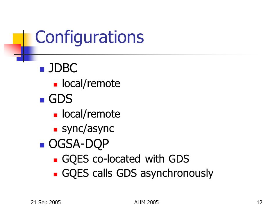 21 Sep 2005AHM 200512 Configurations JDBC local/remote GDS local/remote sync/async OGSA-DQP GQES co-located with GDS GQES calls GDS asynchronously