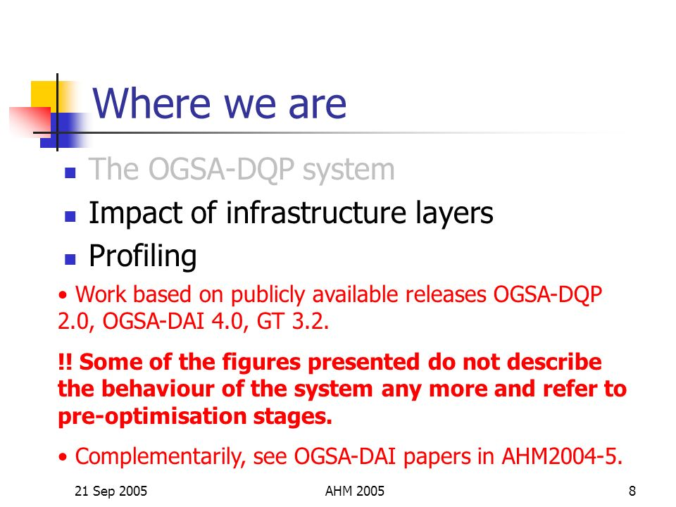 21 Sep 2005AHM 20058 Where we are The OGSA-DQP system Impact of infrastructure layers Profiling Work based on publicly available releases OGSA-DQP 2.0, OGSA-DAI 4.0, GT 3.2.