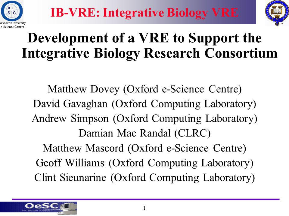 Oxford University e-Science Centre 1 IB-VRE: Integrative Biology VRE Development of a VRE to Support the Integrative Biology Research Consortium Matthew Dovey (Oxford e-Science Centre) David Gavaghan (Oxford Computing Laboratory) Andrew Simpson (Oxford Computing Laboratory) Damian Mac Randal (CLRC) Matthew Mascord (Oxford e-Science Centre) Geoff Williams (Oxford Computing Laboratory) Clint Sieunarine (Oxford Computing Laboratory)