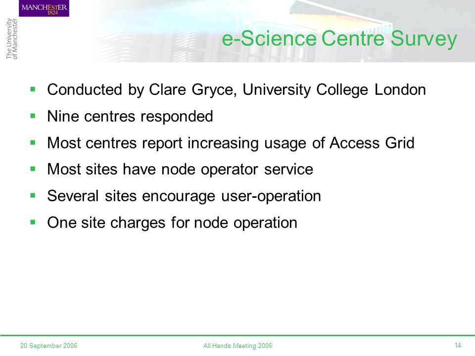 All Hands Meeting 200620 September 2006 14 e-Science Centre Survey Conducted by Clare Gryce, University College London Nine centres responded Most centres report increasing usage of Access Grid Most sites have node operator service Several sites encourage user-operation One site charges for node operation