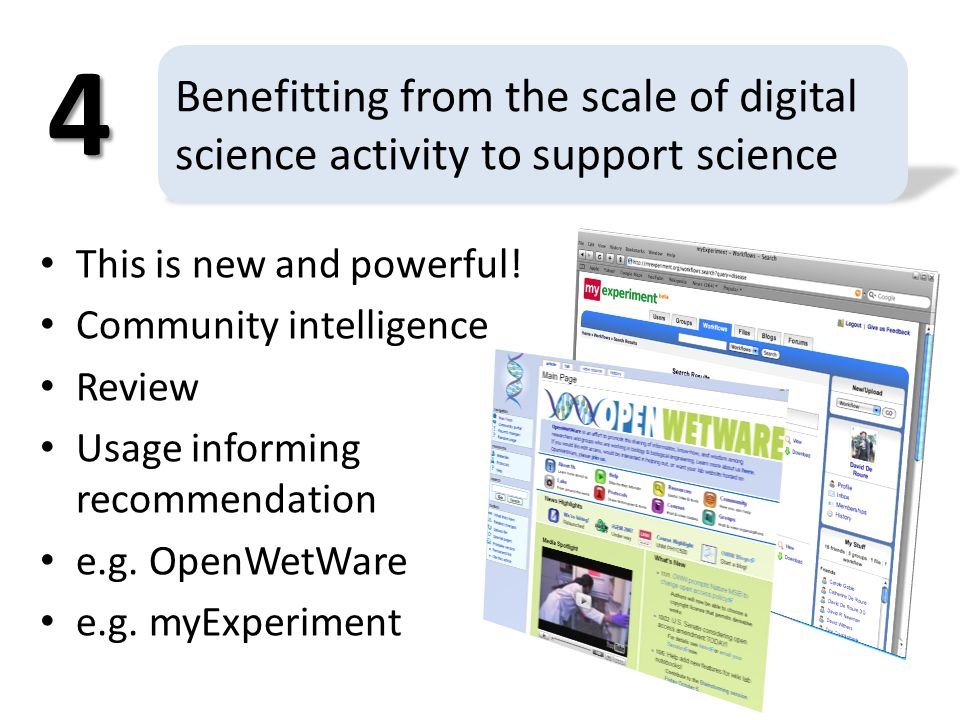 Benefitting from the scale of digital science activity to support science This is new and powerful.