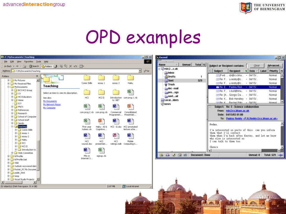 advanced interaction group OPD examples