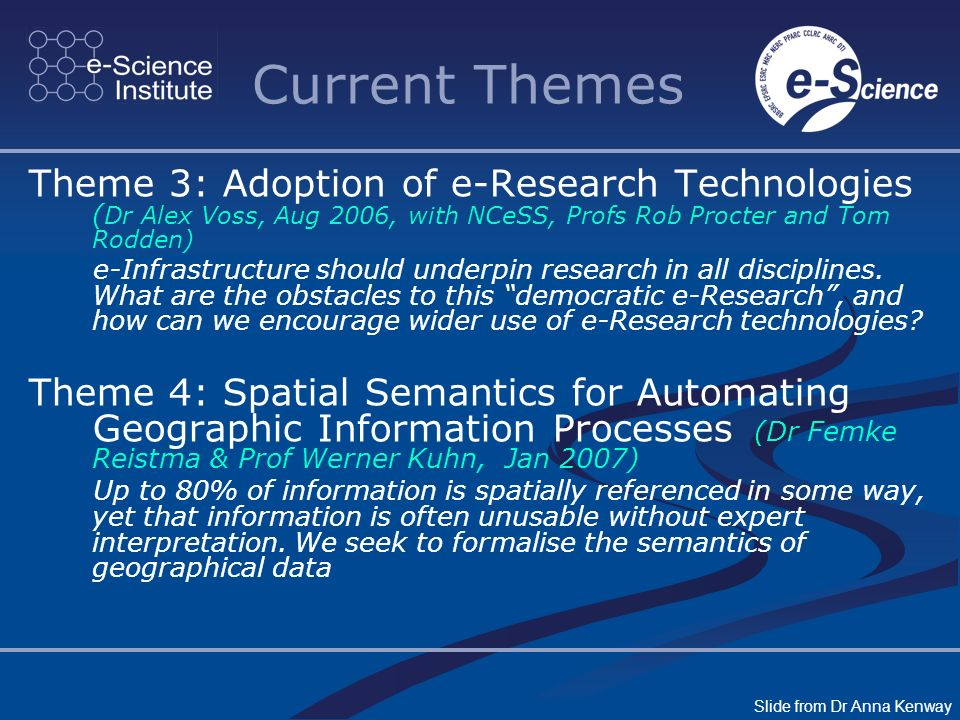 Current Themes Theme 3: Adoption of e-Research Technologies ( Dr Alex Voss, Aug 2006, with NCeSS, Profs Rob Procter and Tom Rodden) e-Infrastructure should underpin research in all disciplines.