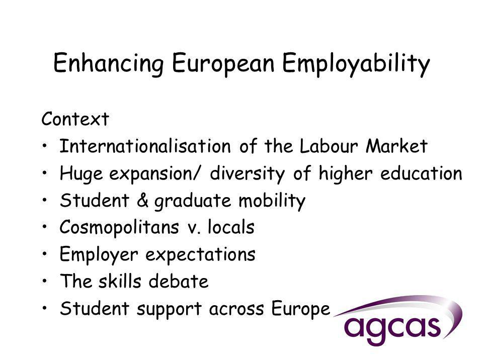 Enhancing European Employability Context Internationalisation of the Labour Market Huge expansion/ diversity of higher education Student & graduate mobility Cosmopolitans v.