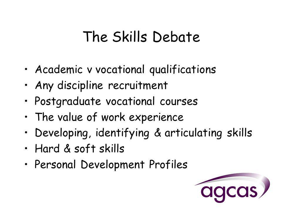 The Skills Debate Academic v vocational qualifications Any discipline recruitment Postgraduate vocational courses The value of work experience Developing, identifying & articulating skills Hard & soft skills Personal Development Profiles
