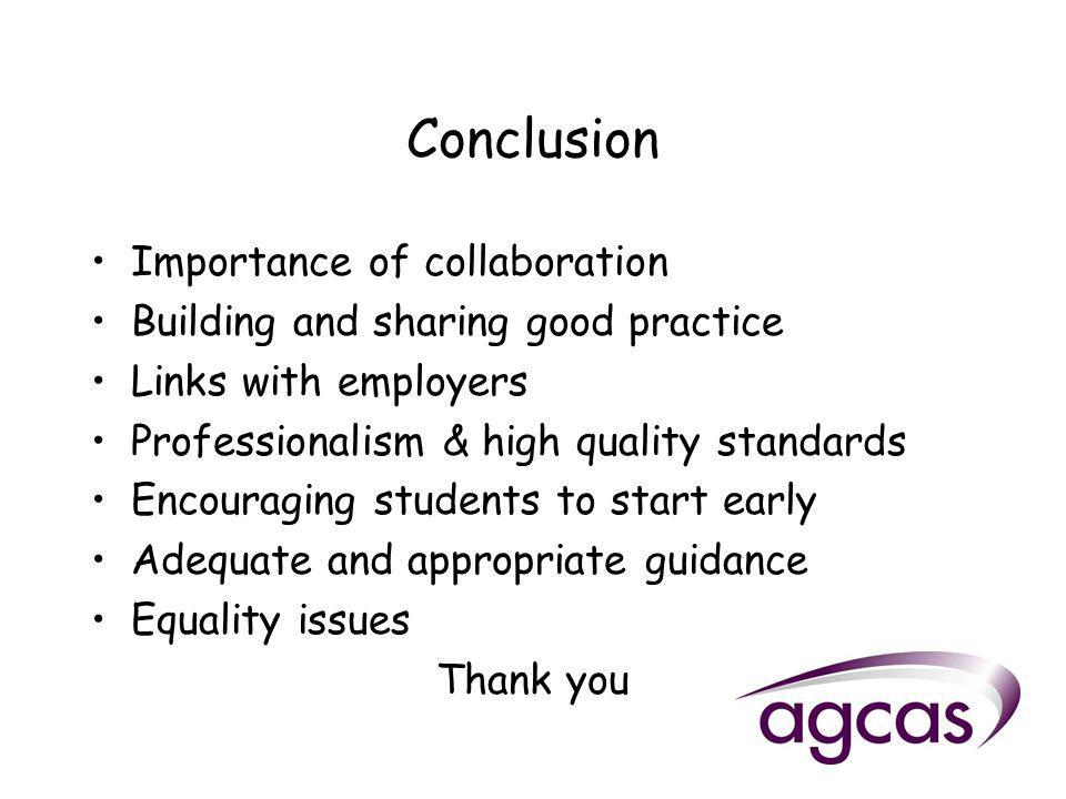 Conclusion Importance of collaboration Building and sharing good practice Links with employers Professionalism & high quality standards Encouraging students to start early Adequate and appropriate guidance Equality issues Thank you