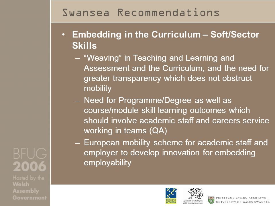 Swansea Recommendations Embedding in the Curriculum – Soft/Sector Skills –Weaving in Teaching and Learning and Assessment and the Curriculum, and the need for greater transparency which does not obstruct mobility –Need for Programme/Degree as well as course/module skill learning outcomes which should involve academic staff and careers service working in teams (QA) –European mobility scheme for academic staff and employer to develop innovation for embedding employability