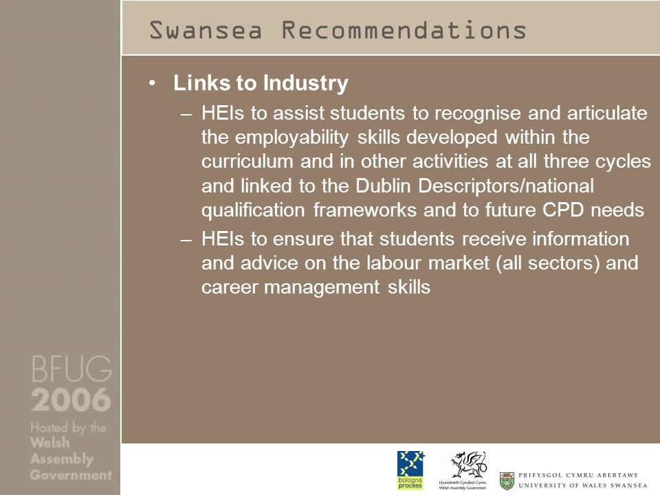 Swansea Recommendations Links to Industry –HEIs to assist students to recognise and articulate the employability skills developed within the curriculum and in other activities at all three cycles and linked to the Dublin Descriptors/national qualification frameworks and to future CPD needs –HEIs to ensure that students receive information and advice on the labour market (all sectors) and career management skills
