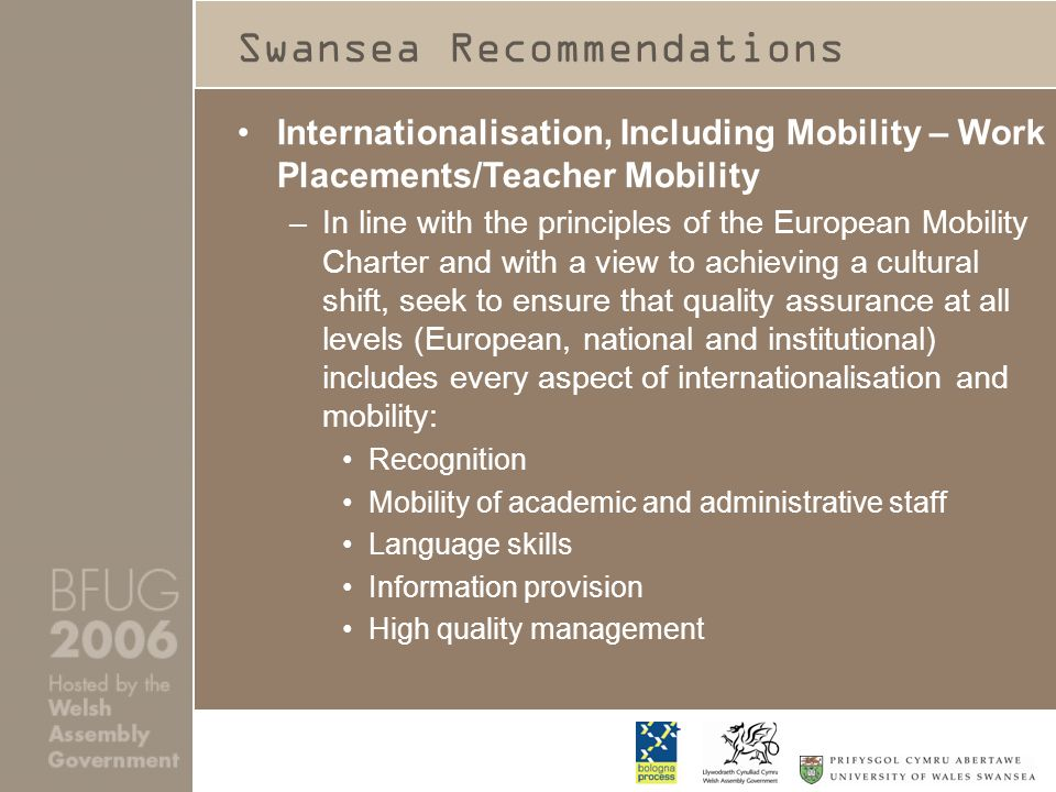 Swansea Recommendations Internationalisation, Including Mobility – Work Placements/Teacher Mobility –In line with the principles of the European Mobility Charter and with a view to achieving a cultural shift, seek to ensure that quality assurance at all levels (European, national and institutional) includes every aspect of internationalisation and mobility: Recognition Mobility of academic and administrative staff Language skills Information provision High quality management
