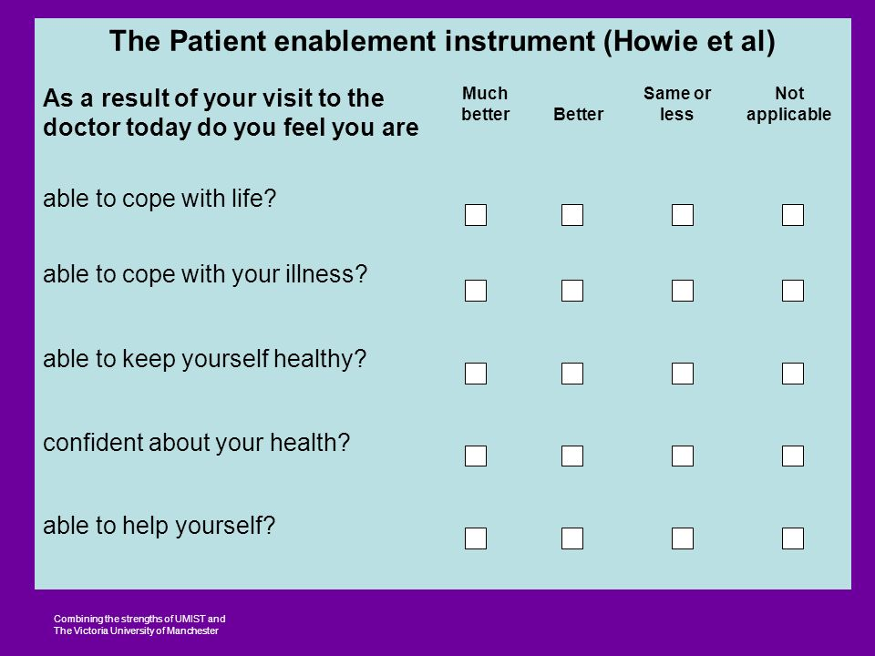 Combining the strengths of UMIST and The Victoria University of Manchester The Patient enablement instrument (Howie et al) As a result of your visit to the doctor today do you feel you are Much betterBetter Same or less Not applicable able to cope with life.
