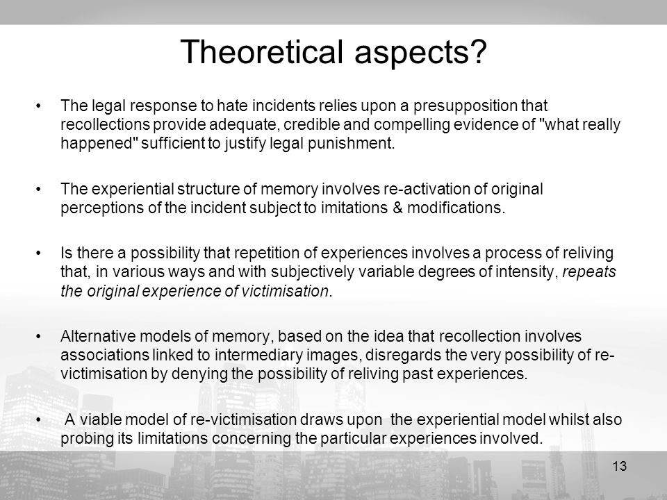 13 Theoretical aspects.