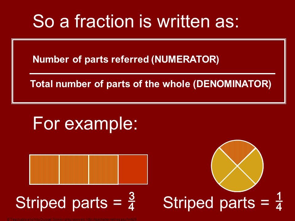 So a fraction is written as: Number of parts referred (NUMERATOR) Total number of parts of the whole (DENOMINATOR) For example: Striped parts = Striped parts = © Teachable and Nitu Duggal.