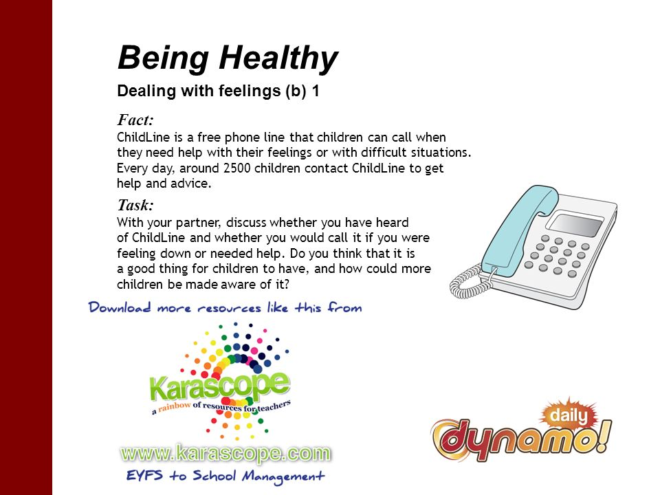 Being Healthy Dealing with feelings (b) 1 Fact: ChildLine is a free phone line that children can call when they need help with their feelings or with difficult situations.