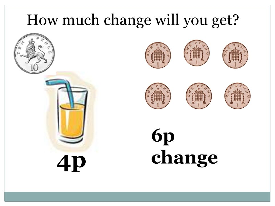 How much change will you get 4p 6p change