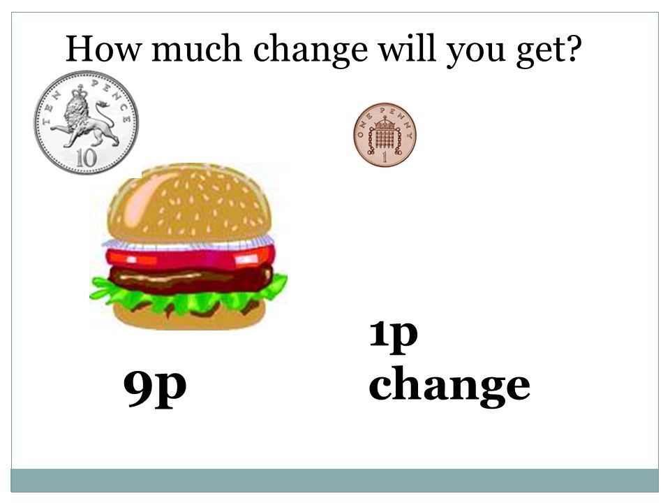How much change will you get 9p 1p change