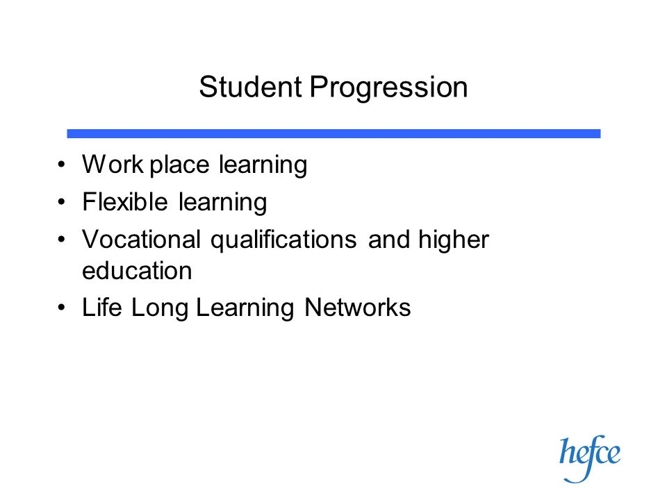 Student Progression Work place learning Flexible learning Vocational qualifications and higher education Life Long Learning Networks