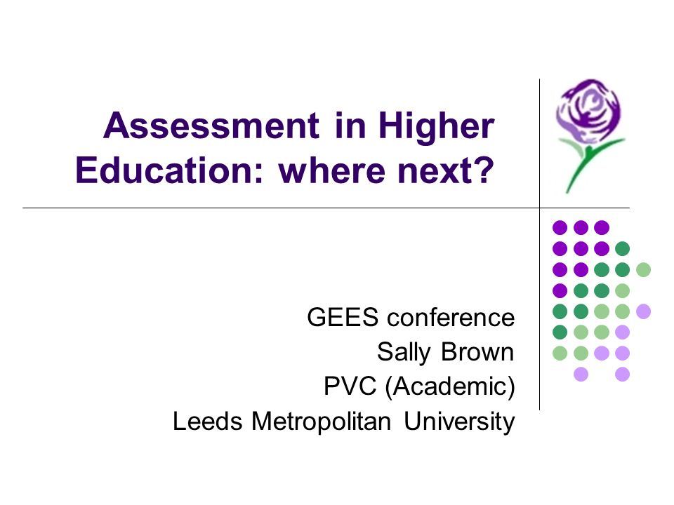Assessment in Higher Education: where next.