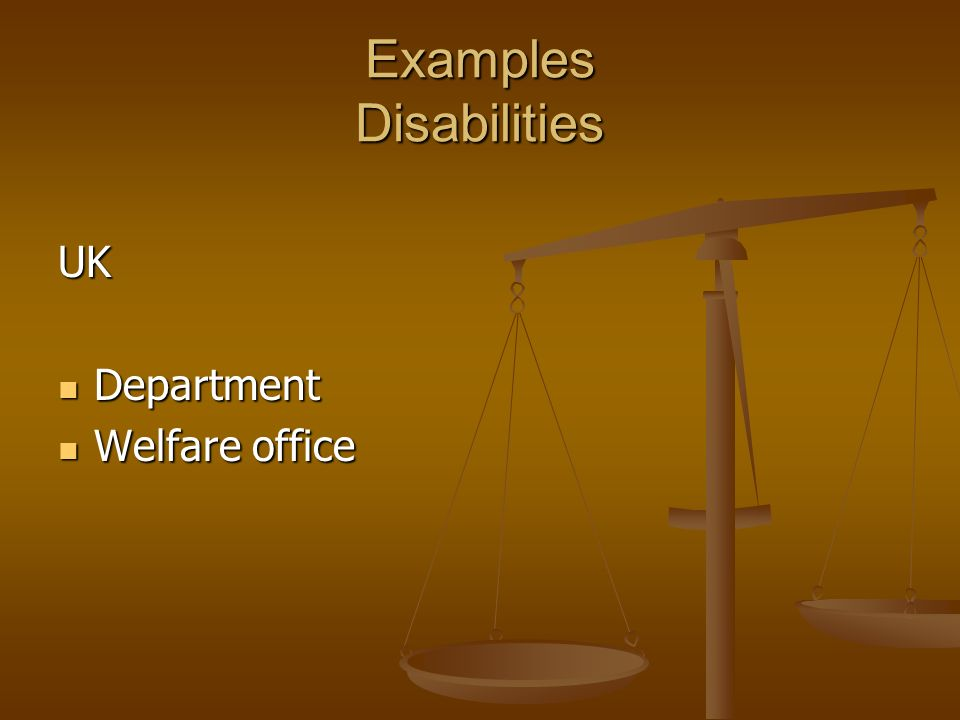 Examples Disabilities UK Department Department Welfare office Welfare office
