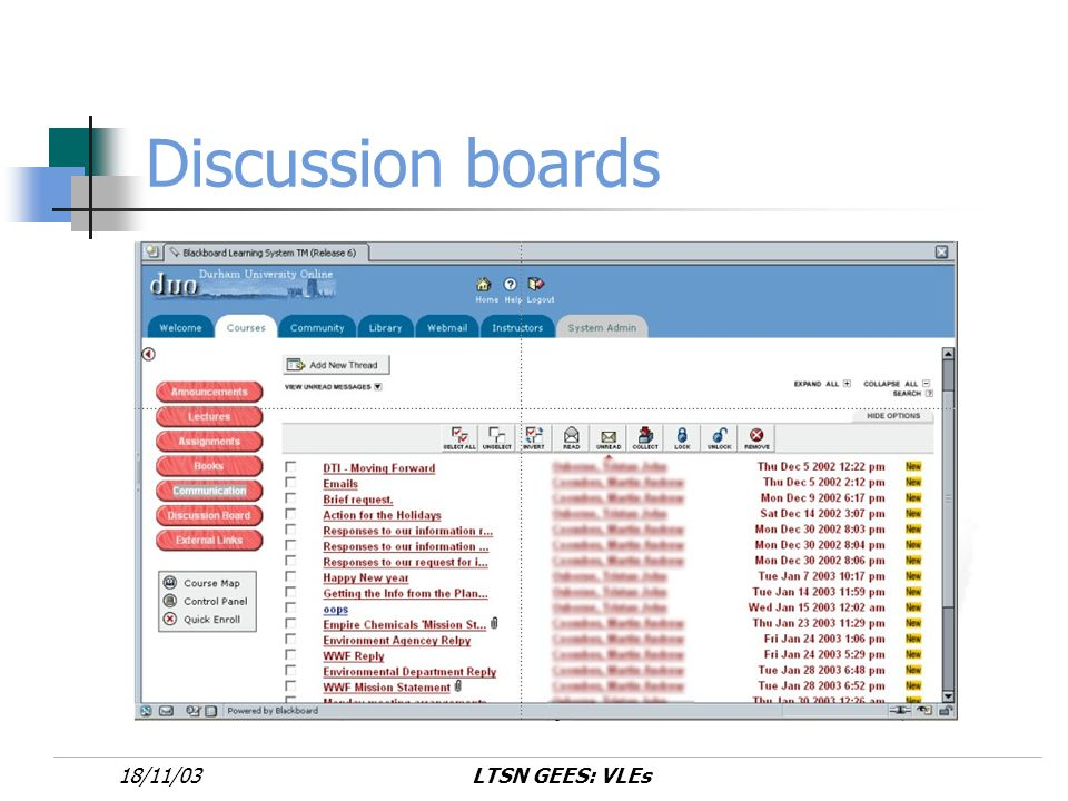 LTSN GEES: VLEs18/11/03 Discussion boards