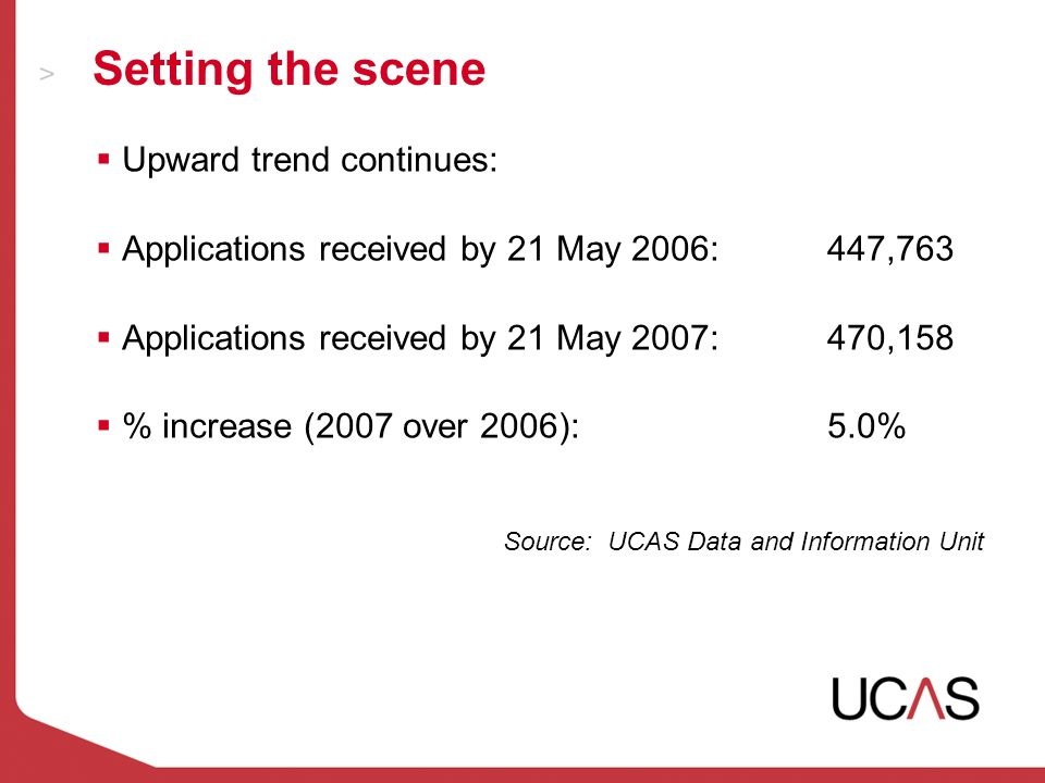 Upward trend continues: Applications received by 21 May 2006:447,763 Applications received by 21 May 2007:470,158 % increase (2007 over 2006):5.0% Source: UCAS Data and Information Unit Setting the scene