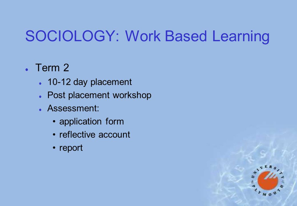 SOCIOLOGY: Work Based Learning l Term 2 l day placement l Post placement workshop l Assessment: application form reflective account report