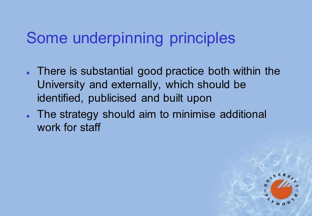 Some underpinning principles l There is substantial good practice both within the University and externally, which should be identified, publicised and built upon l The strategy should aim to minimise additional work for staff