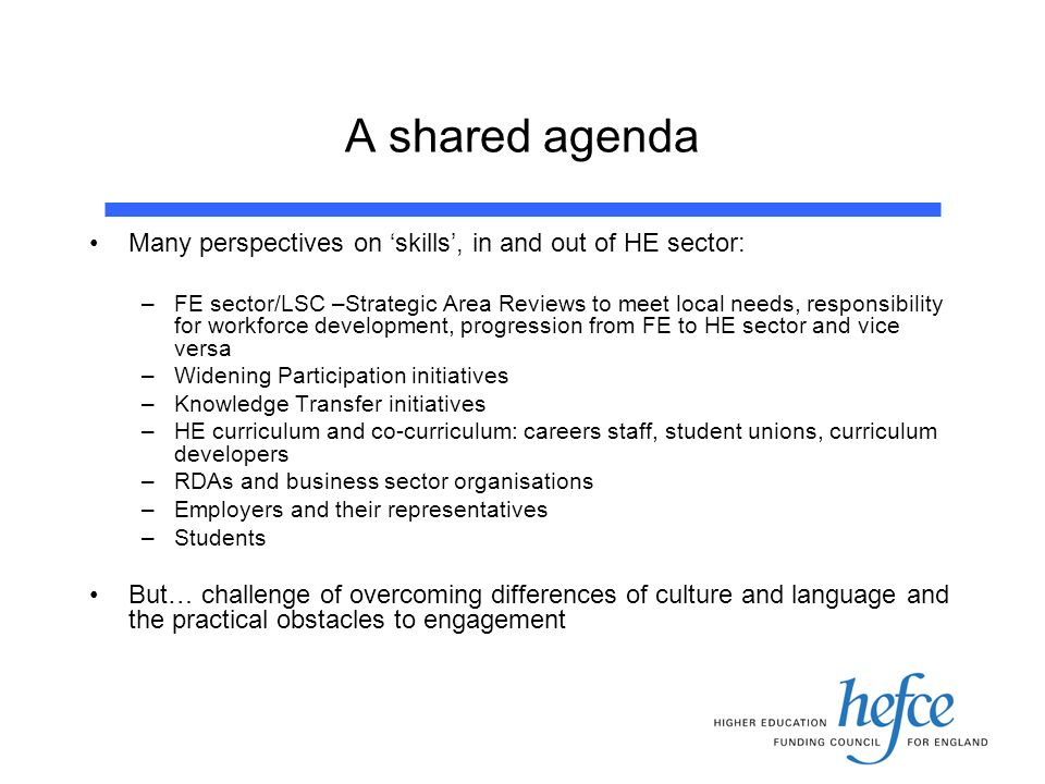 A shared agenda Many perspectives on skills, in and out of HE sector: –FE sector/LSC –Strategic Area Reviews to meet local needs, responsibility for workforce development, progression from FE to HE sector and vice versa –Widening Participation initiatives –Knowledge Transfer initiatives –HE curriculum and co-curriculum: careers staff, student unions, curriculum developers –RDAs and business sector organisations –Employers and their representatives –Students But… challenge of overcoming differences of culture and language and the practical obstacles to engagement