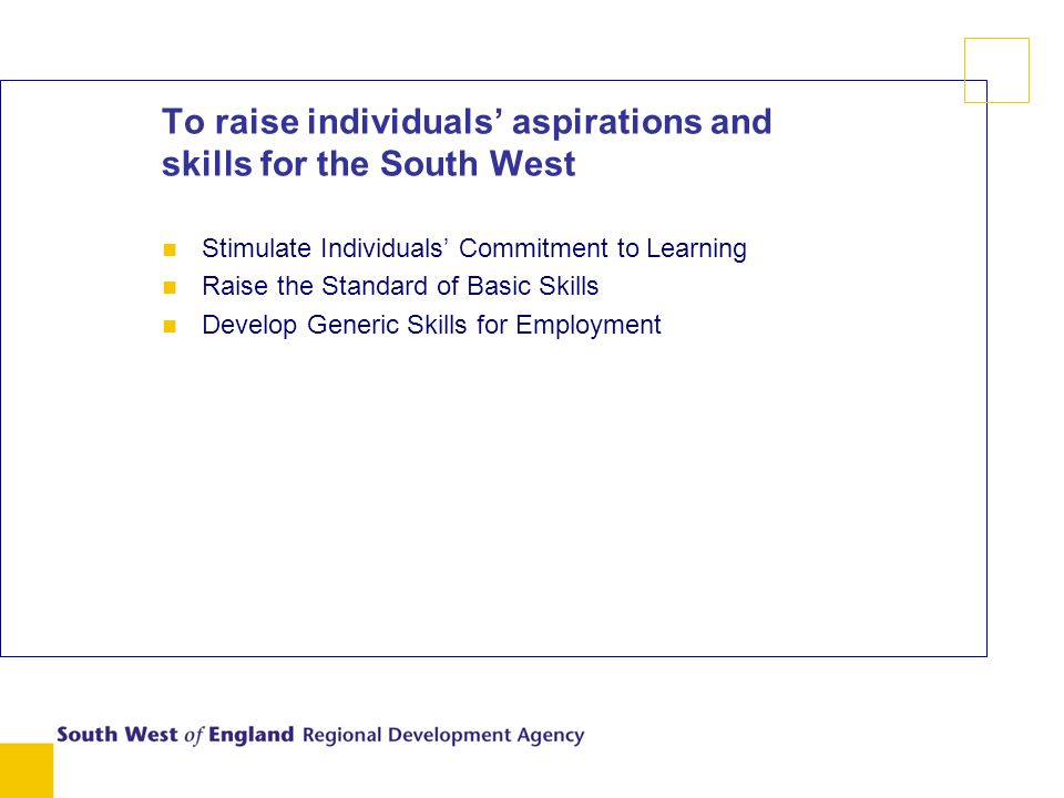 To raise individuals aspirations and skills for the South West n Stimulate Individuals Commitment to Learning n Raise the Standard of Basic Skills n Develop Generic Skills for Employment