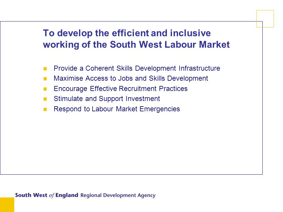 To develop the efficient and inclusive working of the South West Labour Market n Provide a Coherent Skills Development Infrastructure n Maximise Access to Jobs and Skills Development n Encourage Effective Recruitment Practices n Stimulate and Support Investment n Respond to Labour Market Emergencies