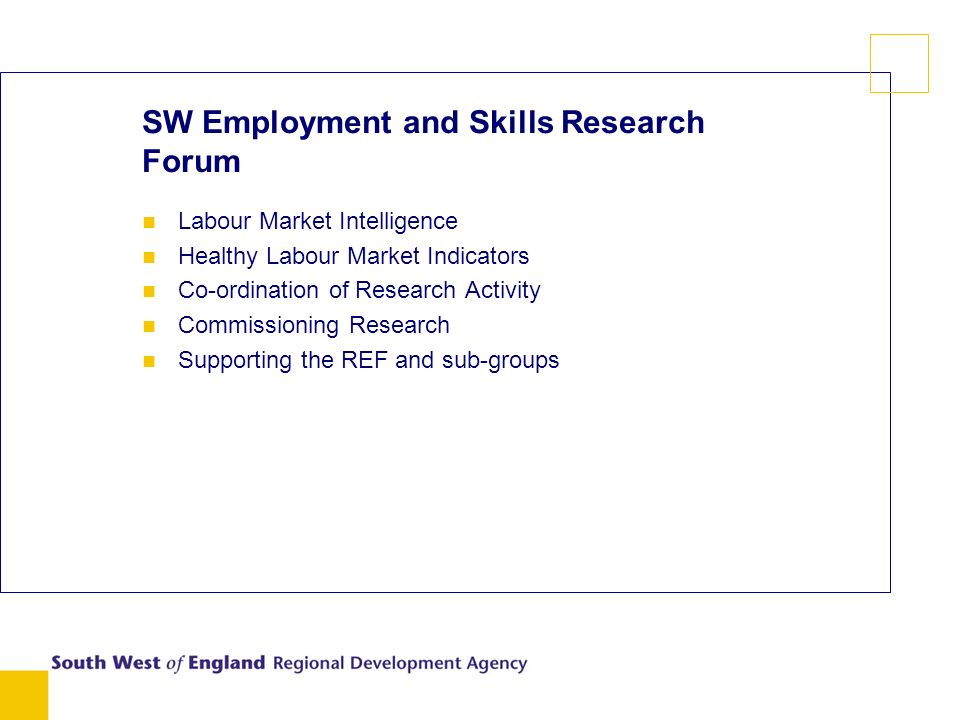 SW Employment and Skills Research Forum n Labour Market Intelligence n Healthy Labour Market Indicators n Co-ordination of Research Activity n Commissioning Research n Supporting the REF and sub-groups