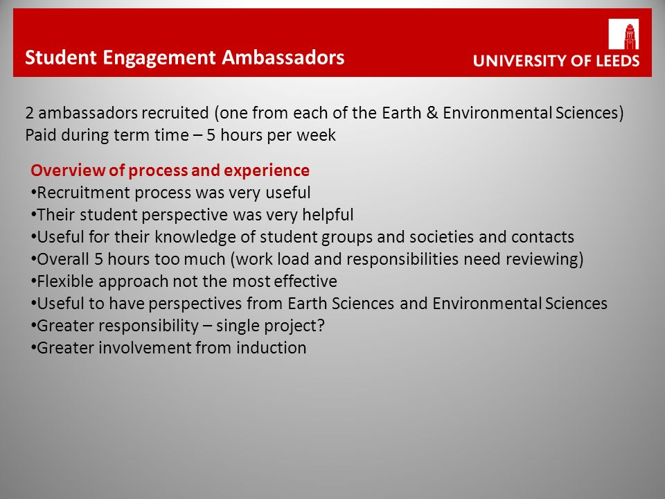 Student Engagement Ambassadors 2 ambassadors recruited (one from each of the Earth & Environmental Sciences) Paid during term time – 5 hours per week Overview of process and experience Recruitment process was very useful Their student perspective was very helpful Useful for their knowledge of student groups and societies and contacts Overall 5 hours too much (work load and responsibilities need reviewing) Flexible approach not the most effective Useful to have perspectives from Earth Sciences and Environmental Sciences Greater responsibility – single project.