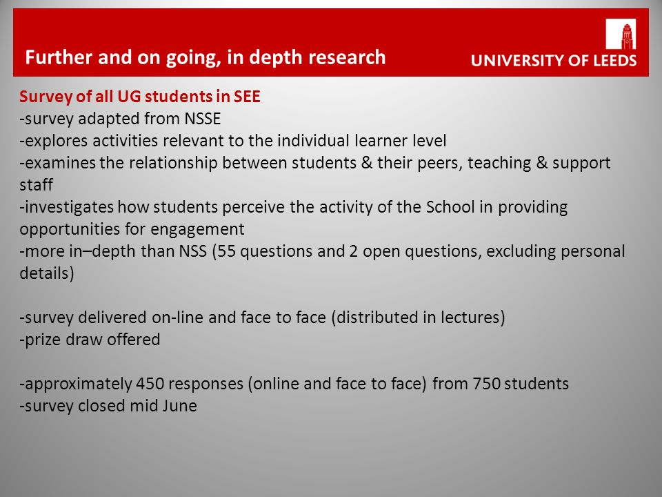 Further and on going, in depth research Survey of all UG students in SEE -survey adapted from NSSE -explores activities relevant to the individual learner level -examines the relationship between students & their peers, teaching & support staff -investigates how students perceive the activity of the School in providing opportunities for engagement -more in–depth than NSS (55 questions and 2 open questions, excluding personal details) -survey delivered on-line and face to face (distributed in lectures) -prize draw offered -approximately 450 responses (online and face to face) from 750 students -survey closed mid June