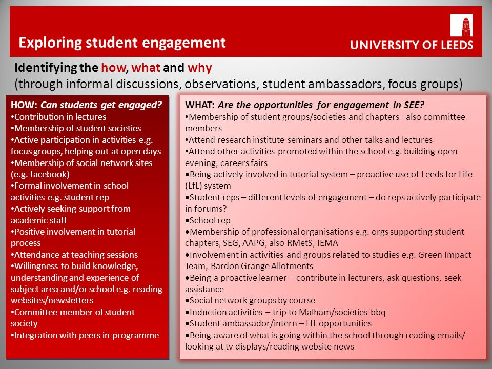 Exploring student engagement Identifying the how, what and why (through informal discussions, observations, student ambassadors, focus groups) HOW: Can students get engaged.