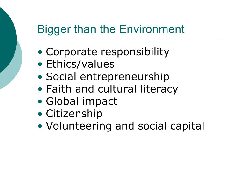 Corporate responsibility Ethics/values Social entrepreneurship Faith and cultural literacy Global impact Citizenship Volunteering and social capital Bigger than the Environment