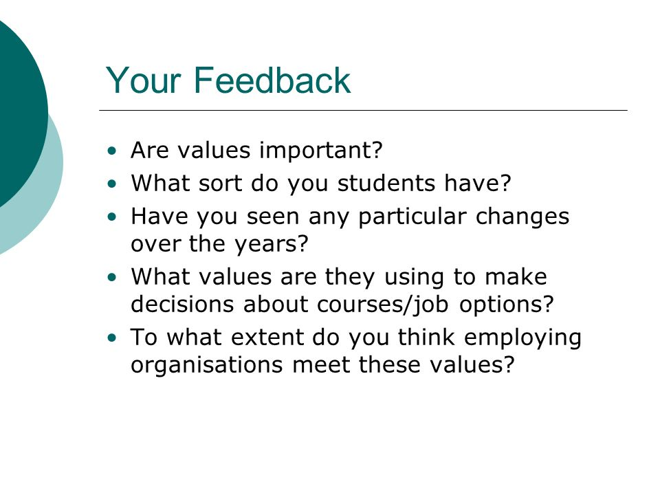 Your Feedback Are values important. What sort do you students have.
