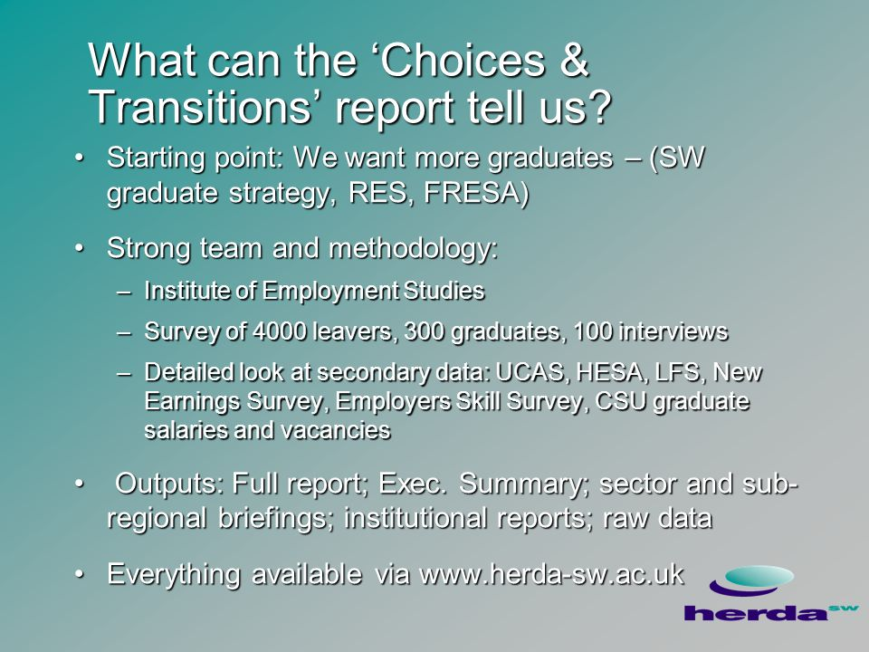 What can the Choices & Transitions report tell us.