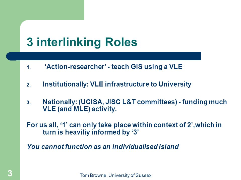 Tom Browne, University of Sussex 3 3 interlinking Roles 1.